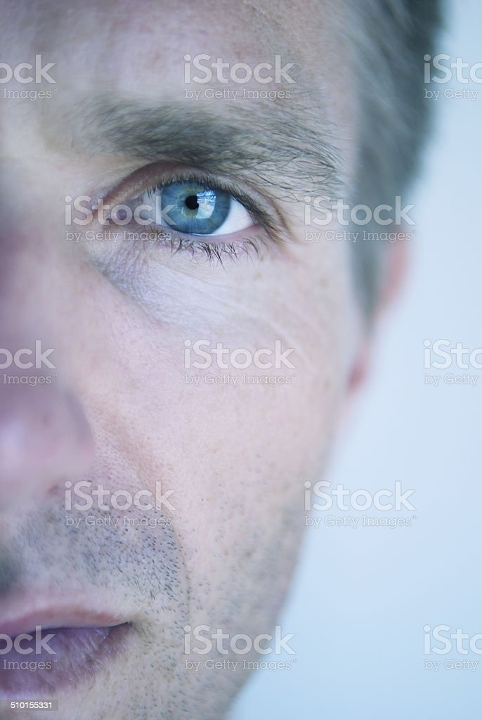 Close-Up Portrait in the Eye of Serious Man royalty-free stock photo
