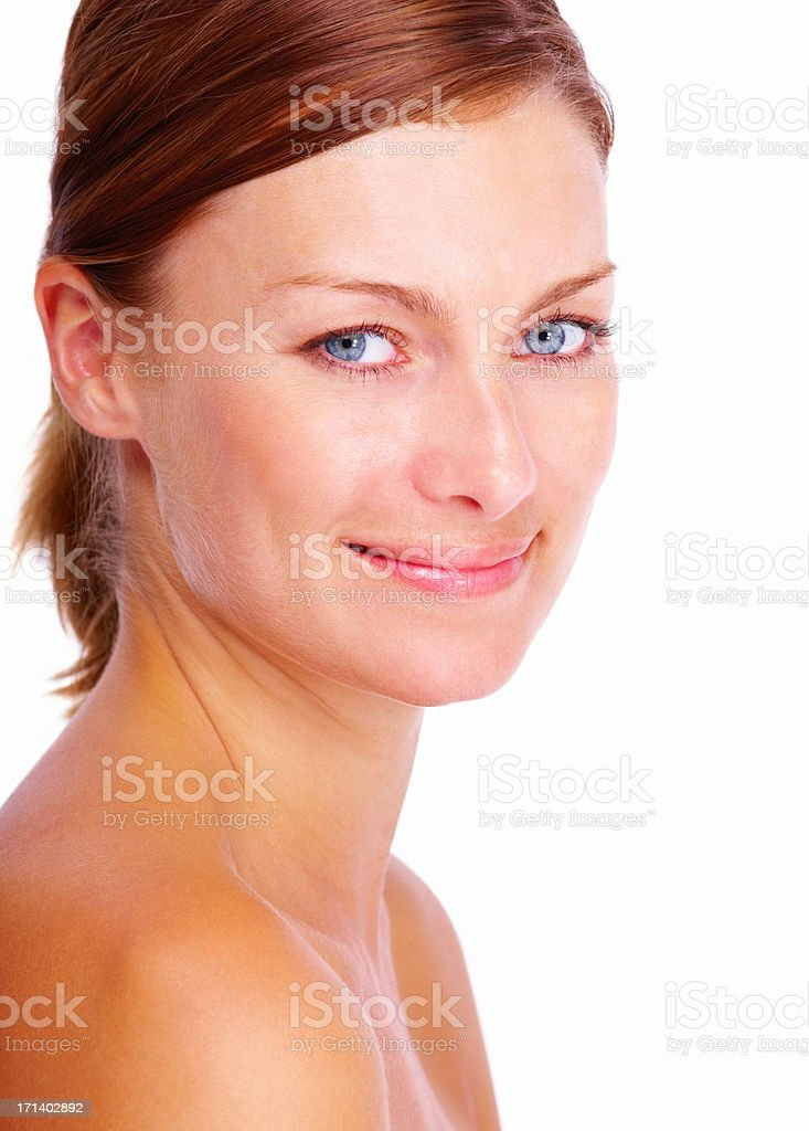 Closeup portrait of a beautiful lady smiling isolated on white background stock photo