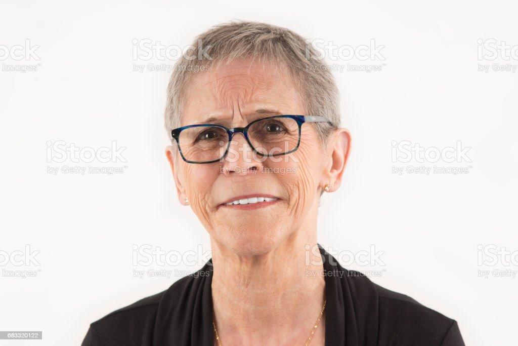 Close-up portrait of a beautiful senior lady royalty-free stock photo