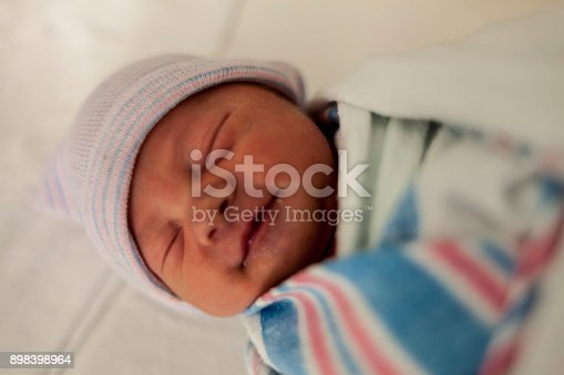 133910422 istock photo Close-up portrait of a beautiful sleeping baby on white 898398964