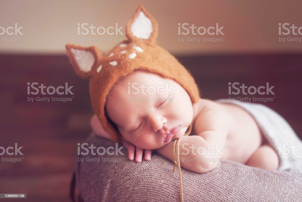Close-up portrait of a beautiful sleeping baby stock photo