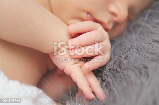 istock Close-up portrait of a beautiful sleeping baby 904829744