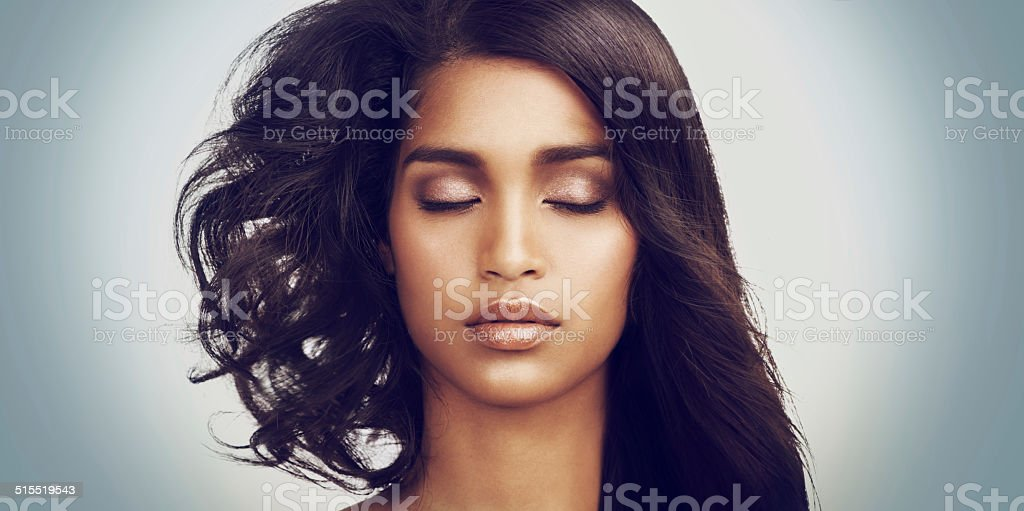 Closeup portrait of a beautiful young woman stock photo