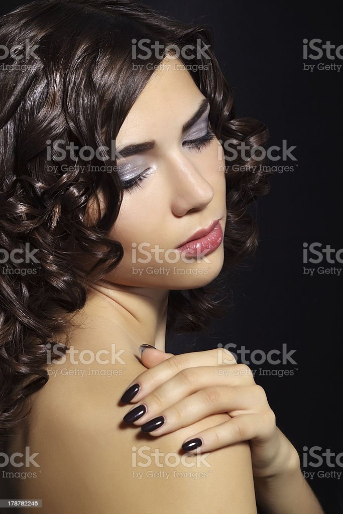 Closeup portrait of a beautiful young woman with makeup royalty-free stock photo