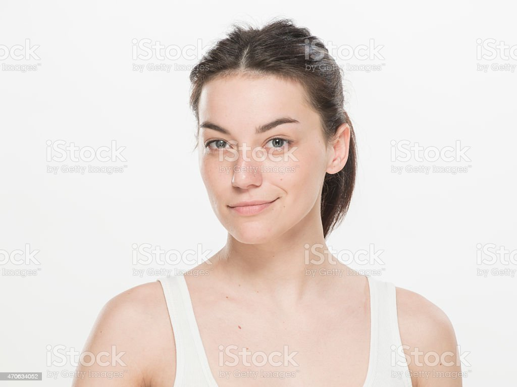 Close-up portrait  of a beautiful young women stock photo