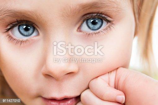 Eyes of a beautiful girl with long eyelashes close-up