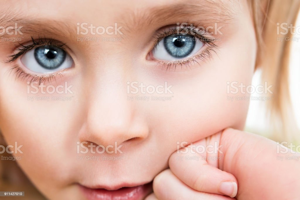 Close-up portrait of a child stock photo