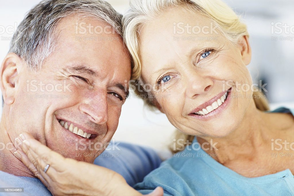 Closeup portrait of a cute retired couple royalty-free stock photo