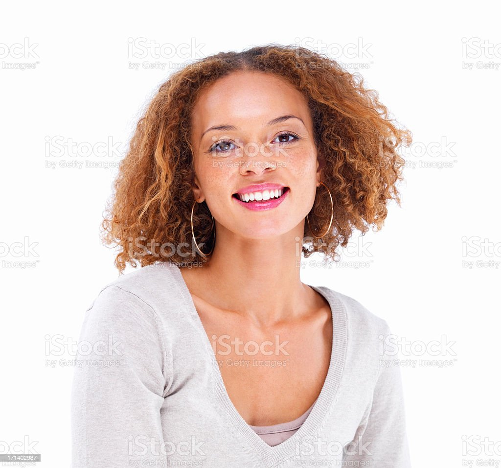 Closeup portrait of a girl smiling with curly hair isolated on white background stock photo