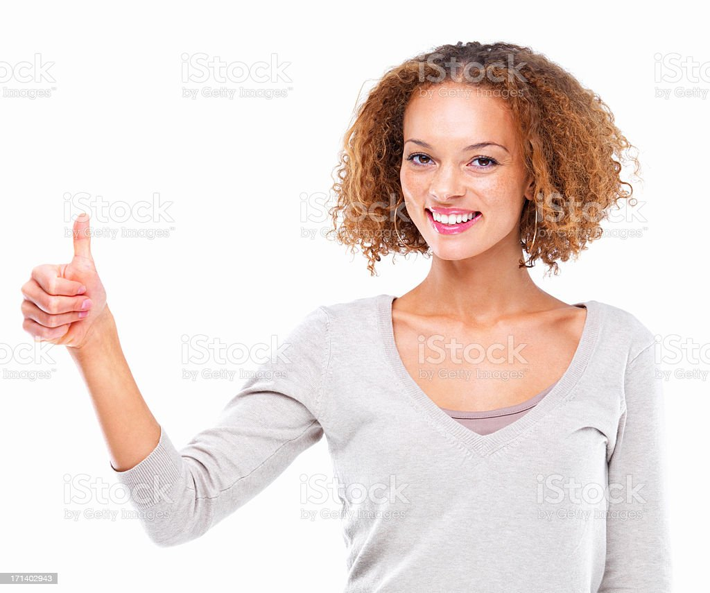 Closeup portrait of a girl with a thumbs up sign isolated on white background stock photo
