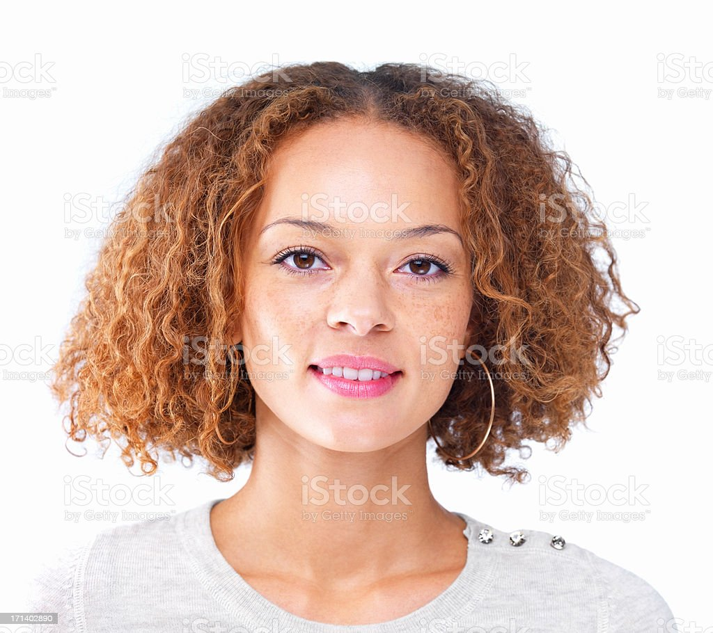 Closeup portrait of a girl with curly hair isolated on white background stock photo