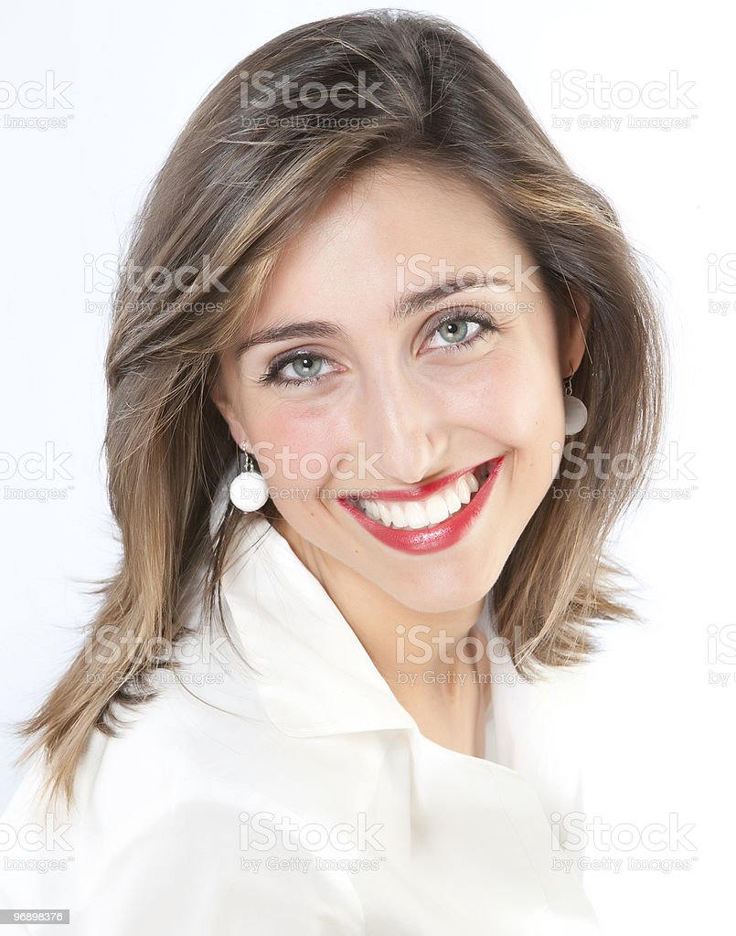 Closeup portrait of a happy young woman smiling royalty-free stock photo