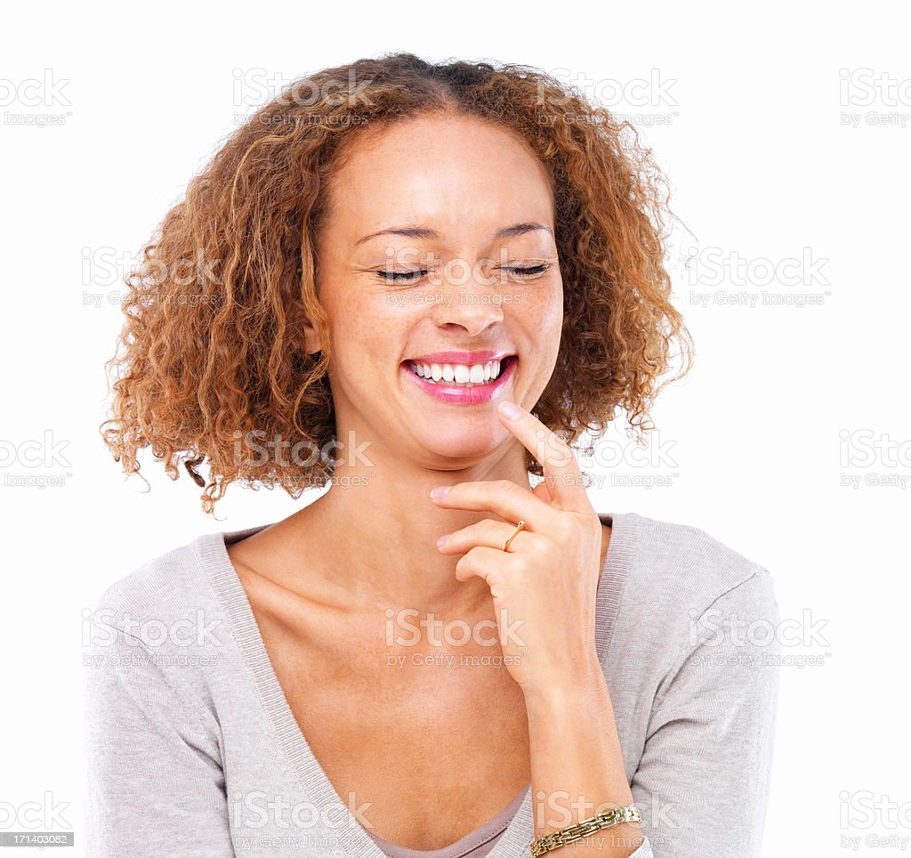 Closeup portrait of a lady laughing, isolated on white background stock photo