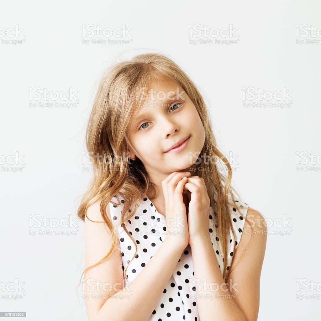 Closeup portrait of a lovely little girl stock photo