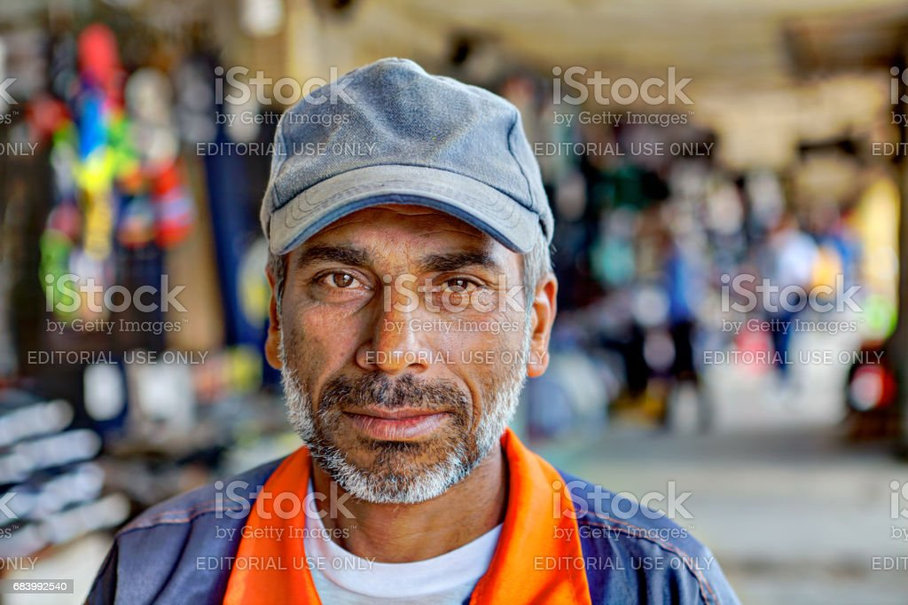 Close-up portrait of a Persian man from southern Iran. stock photo
