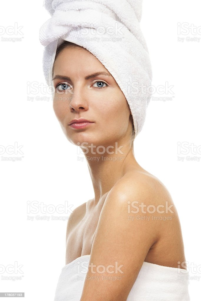Close-up portrait of a woman after bathroom royalty-free stock photo