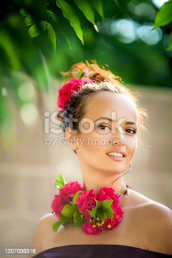 1054970060 istock photo Close-up portrait of a woman with bright makeup 1207036318