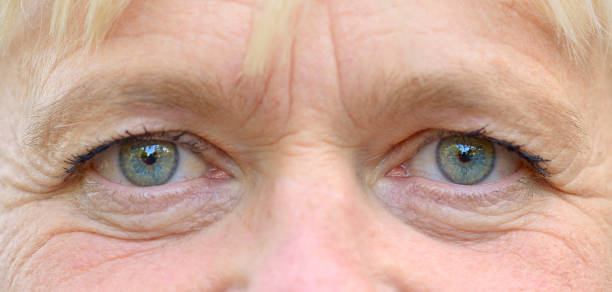 Close-up portrait of a womans eyes stock photo