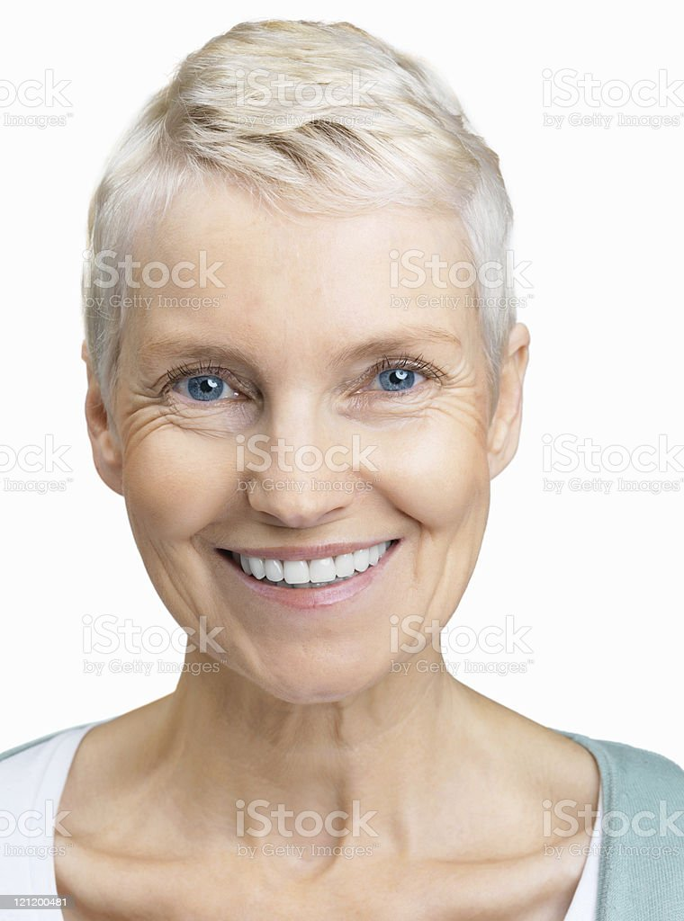 Closeup portrait of an attractive senior woman against white stock photo