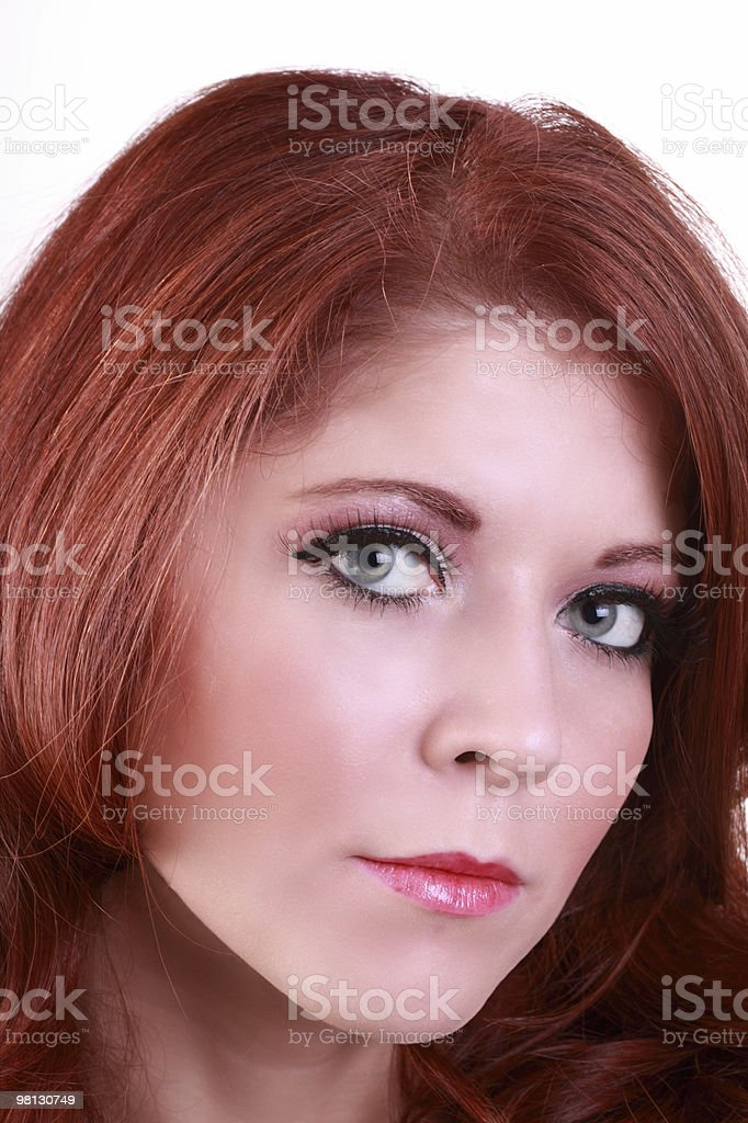 Closeup portrait of attractive redhead young woman royalty-free stock photo