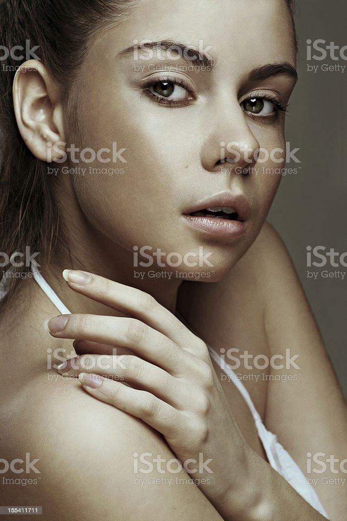 Close-up portrait of beautiful brunette royalty-free stock photo