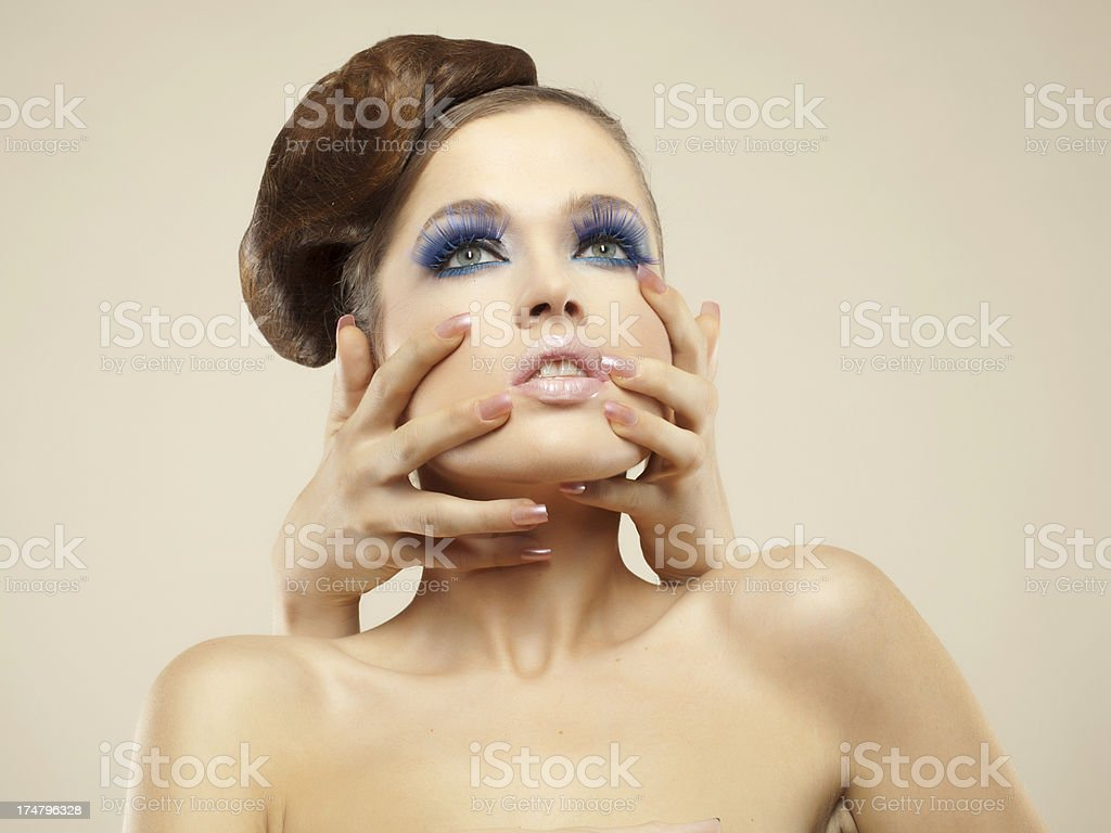 Close-up portrait of beautiful brunette. royalty-free stock photo