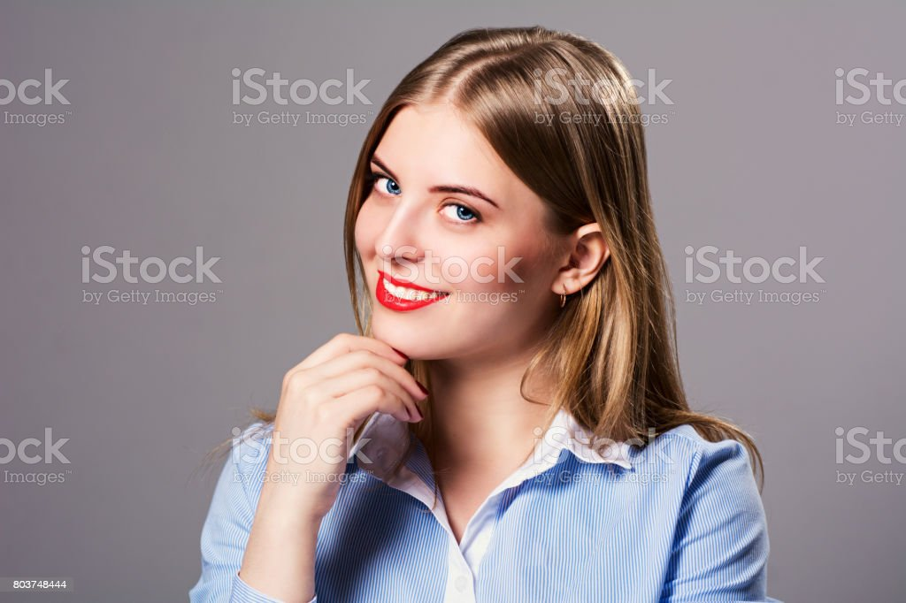 Close-up portrait of beautiful girl stock photo