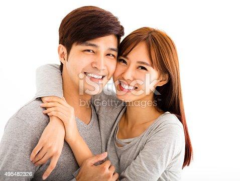 istock Closeup portrait of beautiful happy couple 495482326