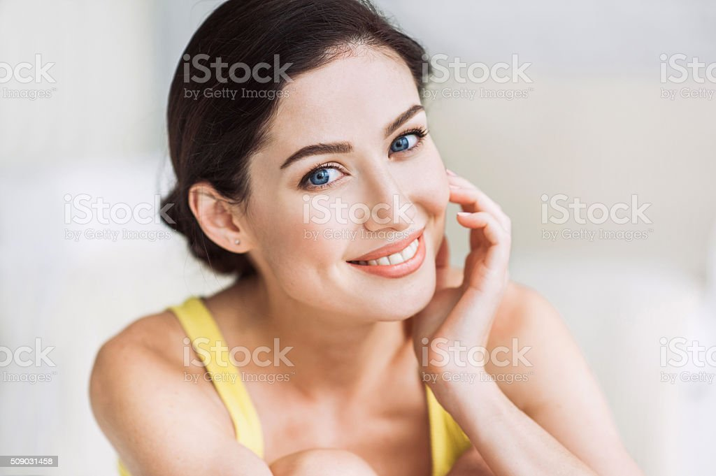 Close-up portrait of beautiful woman stock photo