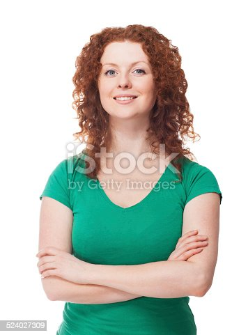 Close-up of a beautiful redhead girl on white background