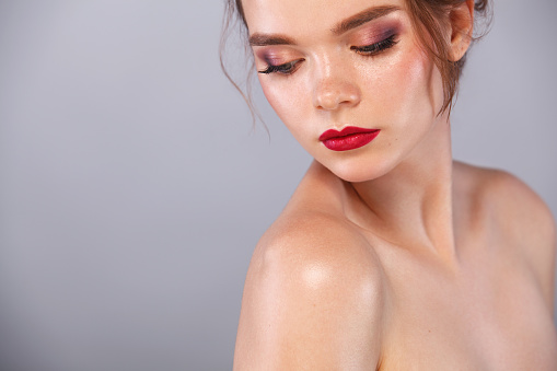 Young Woman Spa Model With Nude Makeup Stock Photo - Image