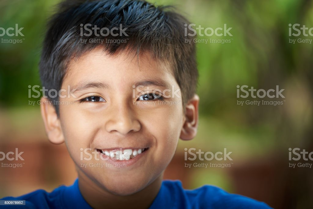 Close-up portrait of boy stock photo