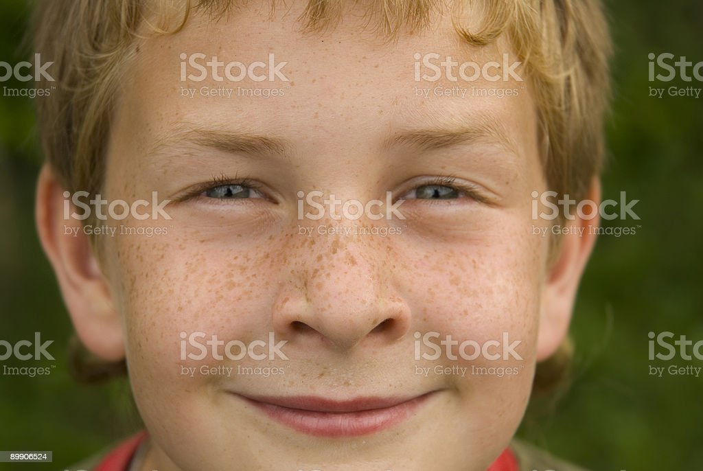 Closeup portrait of boy with freckles royalty-free stock photo