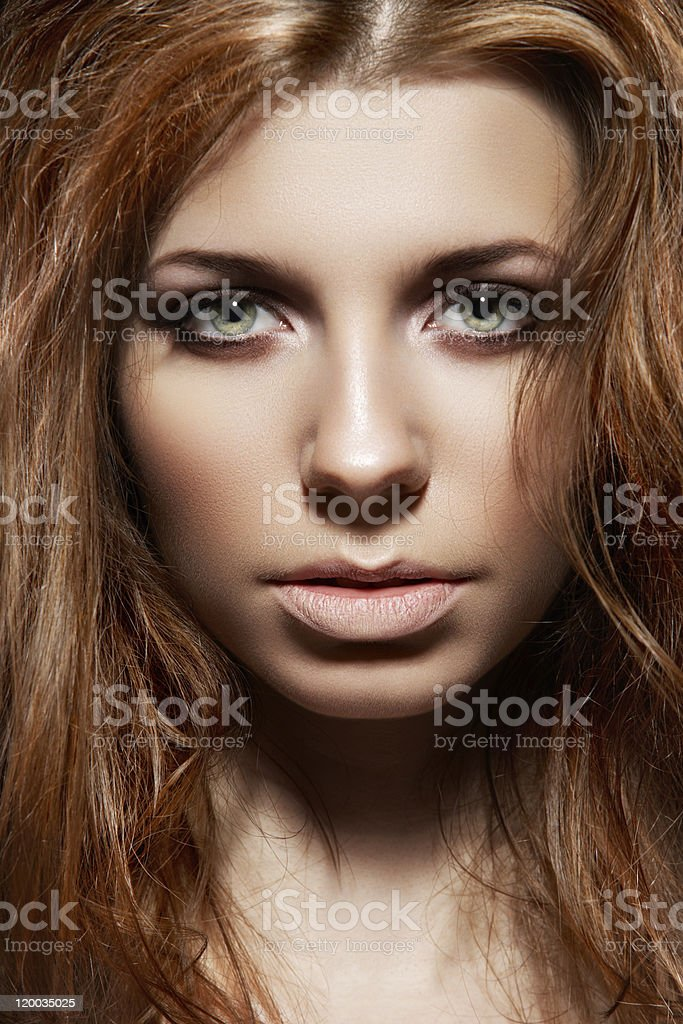Close-up portrait of fashion woman with sexy tousled hairstyle stock photo
