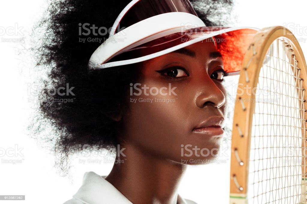 close-up portrait of female tennis player isolated on white stock photo