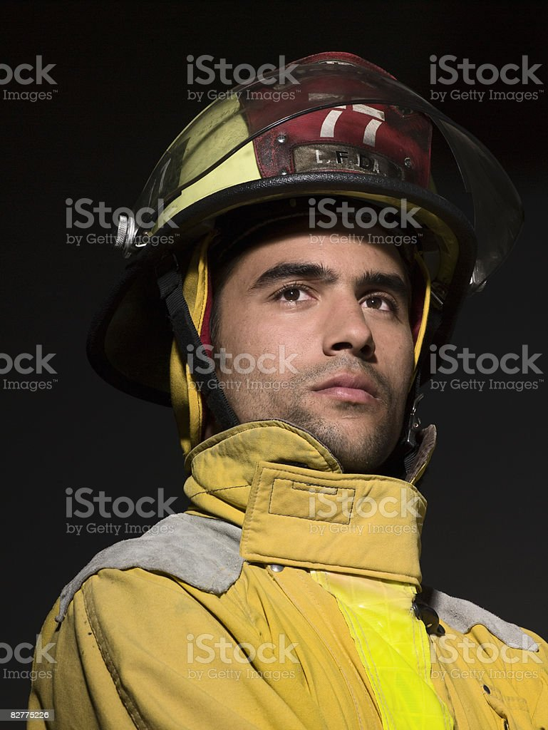 close-up portrait of firefighter royalty free stockfoto