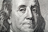 istock Close-up portrait of Franklin on American money 875734456