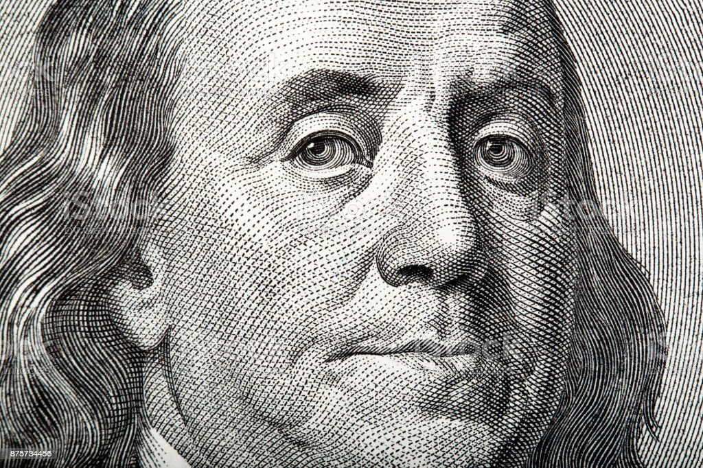 Close-up portrait of Franklin on American money stock photo