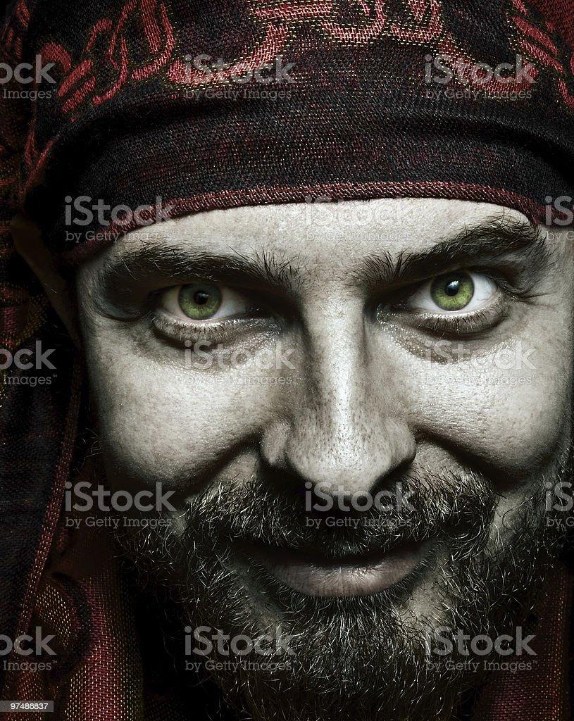 Closeup portrait of funny bizarre spooky man royalty-free stock photo
