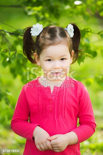 487217358 istock photo closeup portrait of funny little kid. beautiful girls face happy 475819000