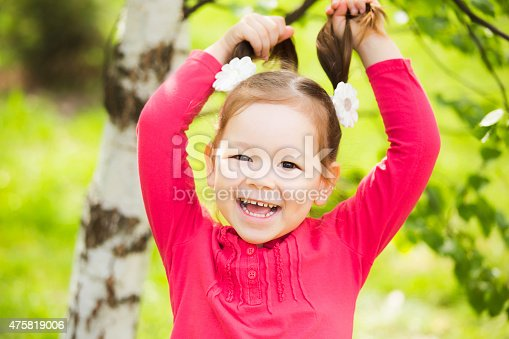 487217358 istock photo closeup portrait of funny little kid. beautiful girls face happy 475819006