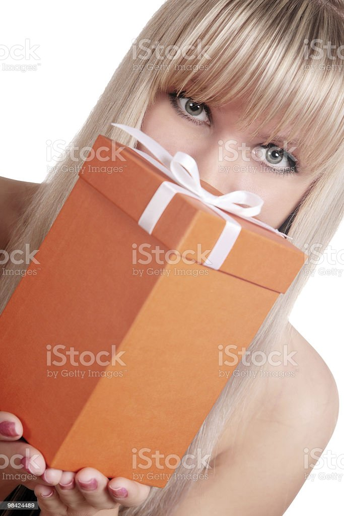 closeup portrait of girl holding present royalty-free stock photo