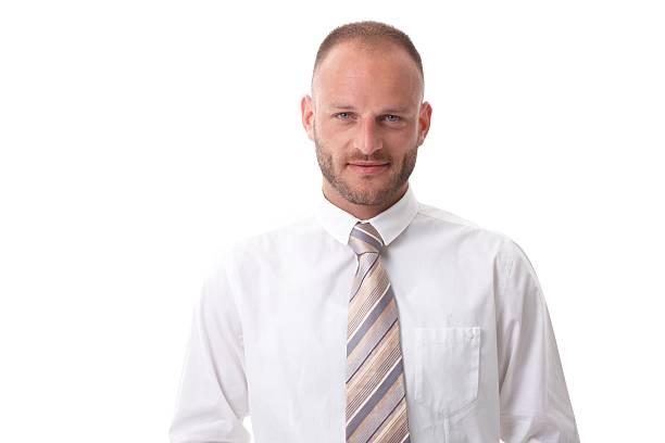 Close-up portrait of handsome businessman stock photo