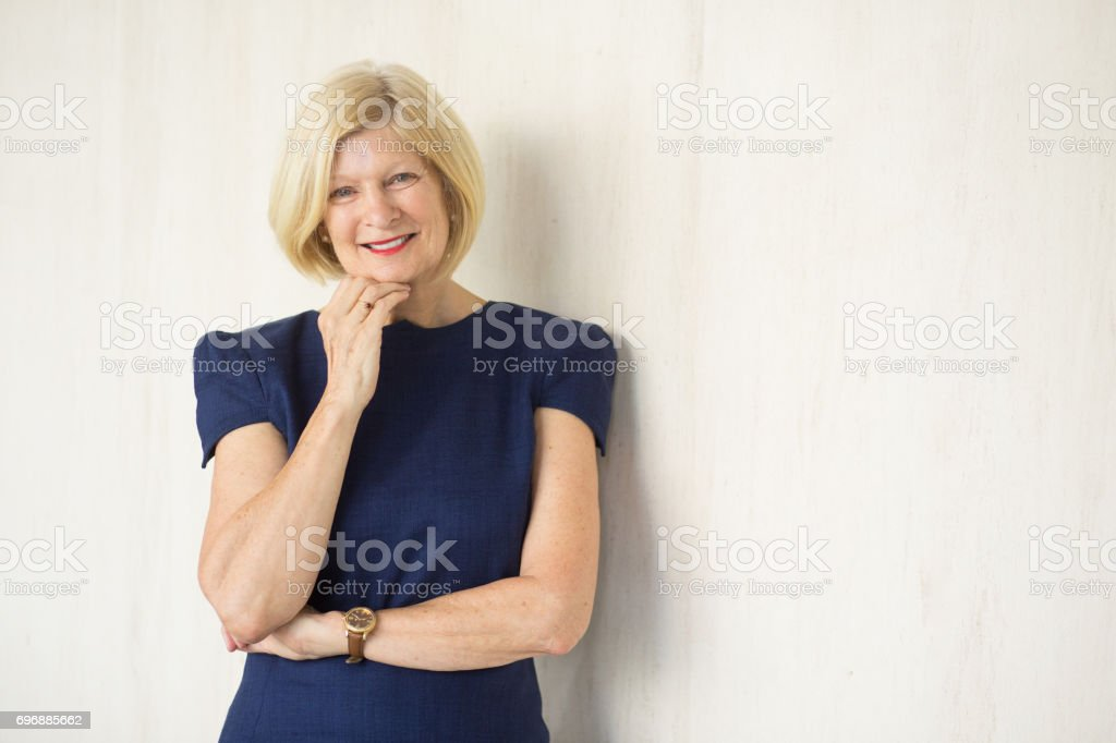 Closeup Portrait of Happy Attractive Senior Woman royalty-free stock photo