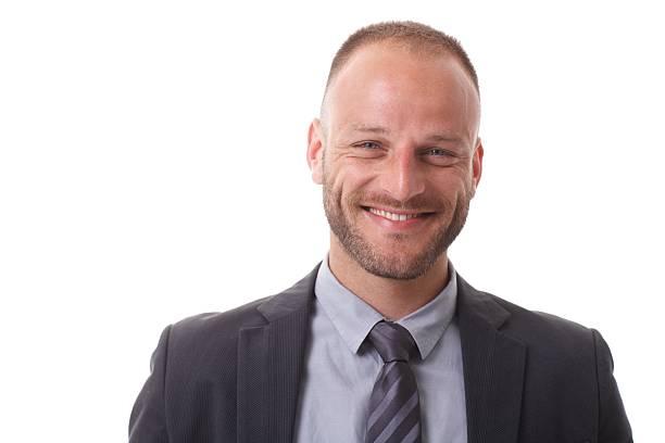 Closeup portrait of happy businessman stock photo