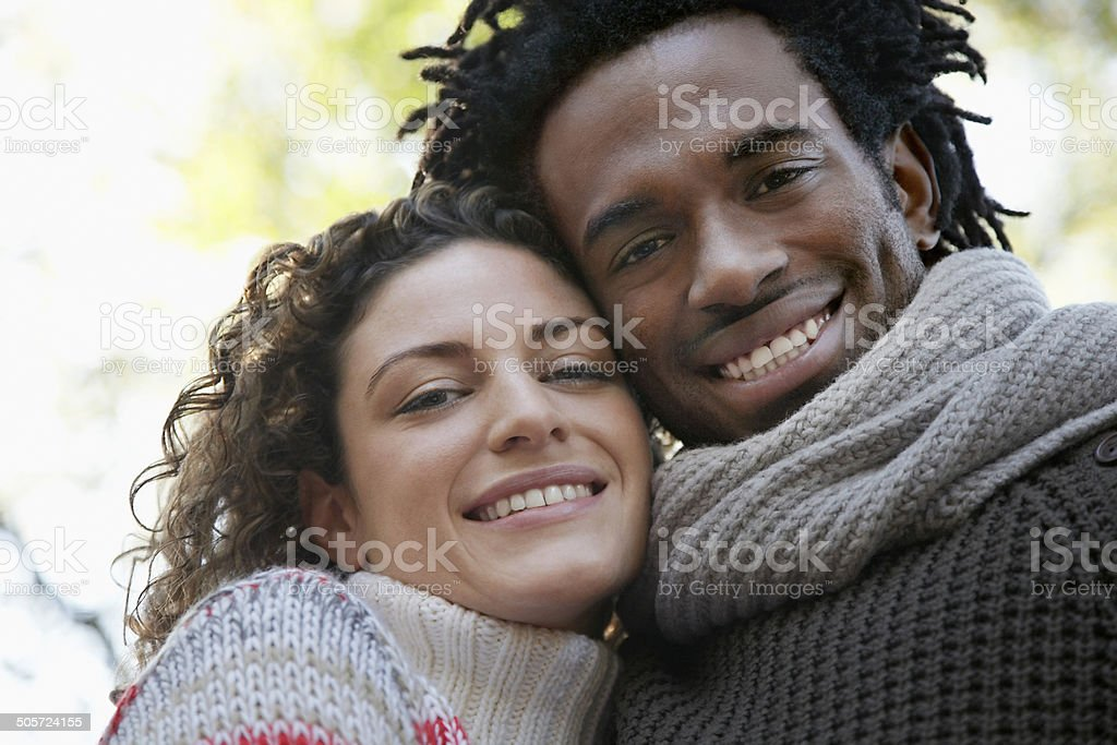 Closeup Portrait Of Happy Couple Smiling stock photo