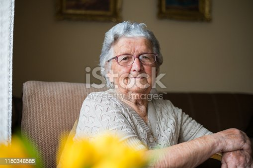 Portrait of a beautiful old woman with gray hair and glasses is sitting in a chair in her home.