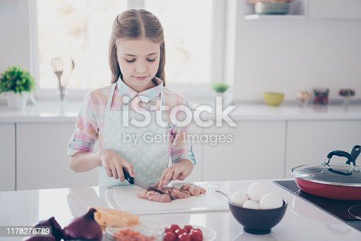 488109116istockphoto Close-up portrait of her she nice attractive beautiful lovely charming cute pre-teen girl chopping fresh useful healthy meat in light white interior room kitchen house indoors 1178276789