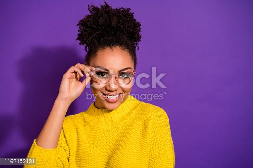 Close-up portrait of her she nice attractive cheerful cheery content wavy-haired girl, touching eyewear laser correction isolated over bright vivid shine violet background