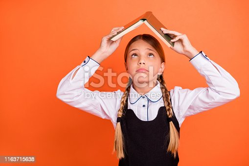 istock Close-up portrait of her she nice attractive lovely naughty pre-teen girl holding over head academic book first September grade isolated over bright vivid shine orange background 1163715638